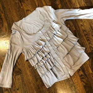 Gray Ruffled tier cotton blouse